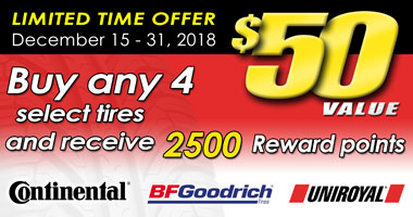 $50 Rewards with 4 select new tires